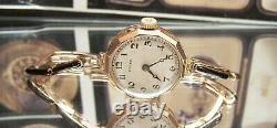 1924 Antique Vintage Swiss Rolex Solid Gold Watch & Rare Band Serviced + Box