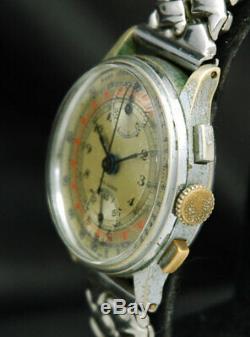 1940s FAB SUISSE SWISS Military Up Down CHRONOGRAPH MEN WATCH VTG RARE Venus 170