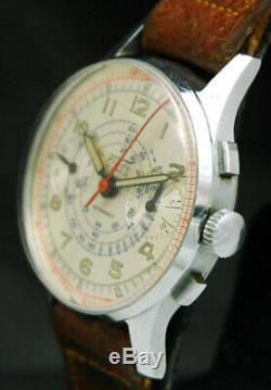 1940s FLUDO 17 Jewel ANTIMAGNETIC PILOT WAR CHRONOGRAPH WATCH VTG RARE SWISS