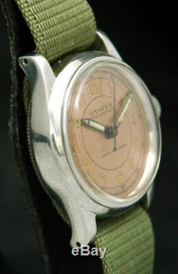1940s OYSTER CENTREGRAPH ROLEX WATCH VTG RARE SWISS COPPER PINK 3478 MID-SIZE