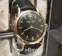 1950 Antique Vintage Iwc Shaffhausen Swiss Solid Gold Cal 422 Rare Dial Watch