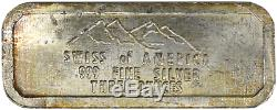 3 oz Silver Bar Swiss of America Vintage Draper Mint. 999 Fine RARELY SEEN BAR