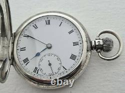 Antique 1905 Swiss Made Full Hunter Sterling Silver Pocket Watch Working Rare