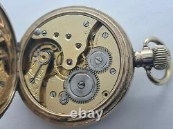 Antique 1909 Swiss Made Half Hunter Gold Plated Pocket Watch VGC Serviced Rare