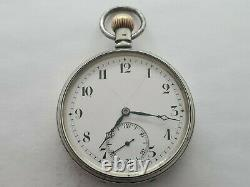Antique 1910 Swiss Made Solid Silver Pocket Watch + Chain Working Rare
