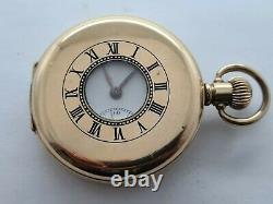 Antique 1921 Swiss Made Gold Plate Dennison Half Hunter Pocket Watch VGC Rare