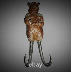 Antique RARE Large Musical Swiss Black Forest Bear Whip Hook Glass Eyes C. 1880