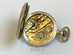 Antique Rare Masonic Symbols Half Hunter Silver Swiss Pocket Roman Watch