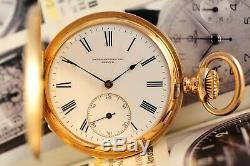 Antique Swiss Patek Philippe Pocket Watch 43.7 mm 18K Gold 3 Covers 1880 Rare