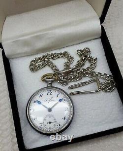 Antique Tellus Watch Pocket Vintage Swiss Rolex Calibre 616 Super Rare Chain
