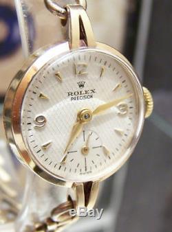 Antique Vintage1955 Swiss Rolex Solid Gold Watch & Band + Original Box Rare Dial