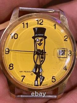Extremely Rare Vintage Mr. Peanut Swiss Made Watch Wristwatch Wind w Date