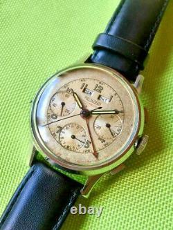 Extremly rare vintage Richard swiss Valjoux 72C triple calendar chronograph