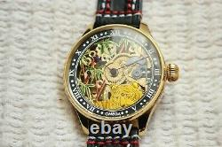 GOLD SKELETON TIGER Vintage 1897` rare Handicraft Engraved New Cased Swiss Watch