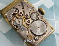 H. MOSER Tank Case Original Vintage Swiss made mechanical Wristwatch VERY RARE