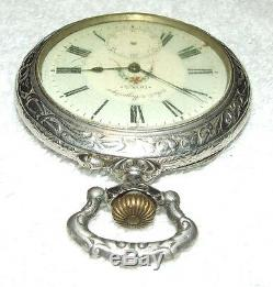 HUGE Antique DOXA Swiss Pocket Watch with Ornate Figural Deer Hunter Case, Rare