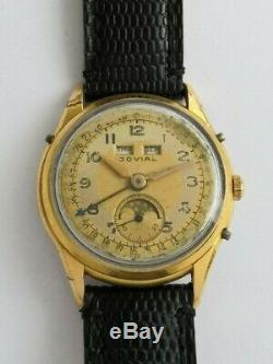Jovial -rare vintage swiss triple calendar moonphase watch, caliber Venus 203
