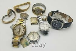 Lot of 10 Watches Mostly Rare Vintage Swiss Made and Others -For Parts or Repair