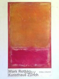 Mark Rothko Rare Vtg 1971 Abstract Expr Lithograph Print Lrg Swiss Exhbtn Poster