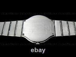 Men's Movado SAPPHIRE Black Dial Thin Vintage Gold Trim Swiss Watch RARE