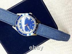 Nos Sandoz Automatic Blue Dial Rare Mens Watch Swiss Date Rotate Bezel Diver