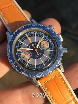 ON SALE! Rare Colorful Anker Vintage Chronograph Mens Watch 38,6mm Steel Swiss