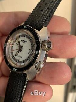 ON SALE Rare Vintage Jenny Sealab Diver Alarm Mens Watch 39mm Swiss Cal. AS 1931