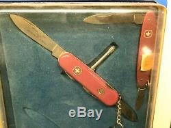 RARE 1980s Swiss Army Knife Victorinox Counter Display Case Vintage With 8 Knives