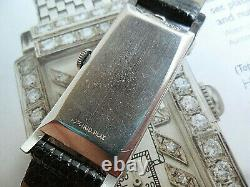 RARE Diamond Dial 1930s Platinum Paul Ditisheim 16 Jewel 4 Adj. Swiss Tank Watch