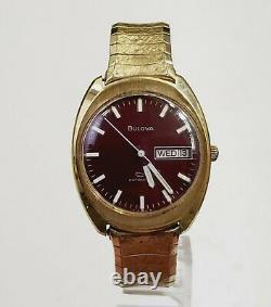 RARE Men's Vintage 1970 SWISS AUTOMATIC 10K Gold Plated Watch BULOVA Sea King