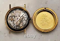 RARE Men's Vintage sirca 60's SWISS 14K G. P Watch MOVADO / ZENITN in BOX. Wind Up