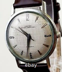 RARE, UNIQUE Men Vintage SWISS AUTOMATIC Watch CROTON NIVADA GRENCHEN 17 Jewels