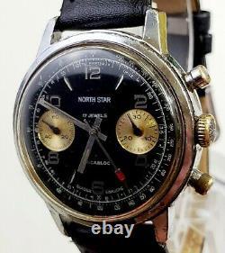 RARE, UNIQUE Men Vintage circa 60's SWISS CHRONOGRAPH Watch NORTH STAR 17Jewels