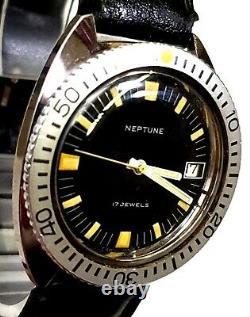 RARE, UNIQUE Men's SWISS Vintage Watch NEPTUNE 17Jewels. Baylor Watch Co. Leather