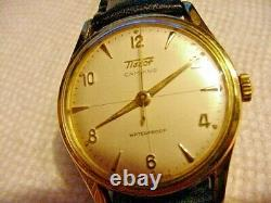RARE VINTAGE GOLD (Omega)TISSOT CAMPING Swiss Made 16J MEN WATCH 27 B-21