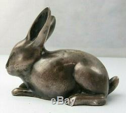 RARE Vintage SANDOZ Art Deco Rabbit Bronze Swiss Sculpture Figure Switzerland