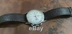 RARE! ZEDON WWII 40's MILITARY SS CHRONOGRAPH PILOT L148 VINTAGE 17J SWISS WATCH