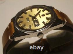 Rado Rare Vintage Mens Swiss Watch, Day Night, Gold Dial, Ss, Auto, Orig, Good