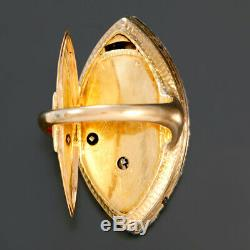 Rare 18k Yellow Gold Swiss Ring Watch With Diamond Bezel Ca1840 Keywind/keyset