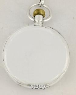Rare Antique 1890's Swiss Chronograph Pocket Watch Solid Silver Chain Fob Set