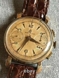 Rare Breitling Swiss Made Homme montre mécanique Chronographe 1192 vintage 1946