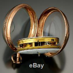 Rare Double Porcelain Dial Antique 14k Rose Gold Swiss Calendar Pocket Watch