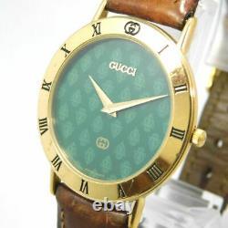 Rare Gucci 3000m Men's Gold Green Vintage Swiss Made Watch Quartz New Battery