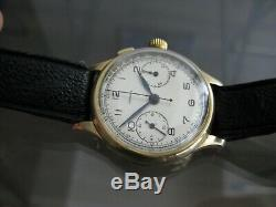 Rare Longines 13zn Chronograph 14k Flyback One Button 1935 Swiss Made Wristwatch