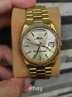 Rare Mido Commander Day Date Vintage Mido 8299 Gold Plated authentic swiss made