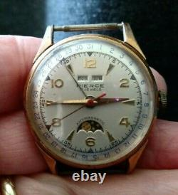 Rare PIERCE Triple Calendar Sun & Moon Vintage Watch Swiss Made Manual 1950s