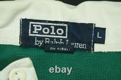 Rare VTG POLO RALPH LAUREN Spell Out K Swiss Shield Patch Rugby Shirt 90s USA L