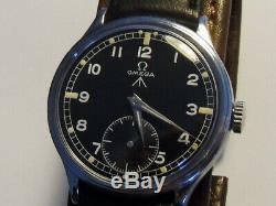 Rare Vintage 1944 Wwii Omega Cal. 30t2pc Military Raf Army Black Dial Swiss Watch