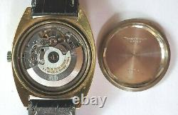 Rare Vintage Bucherer Swiss 1806 21 Jewel Adj. 3 Automatic Gold Watch Gray Dial