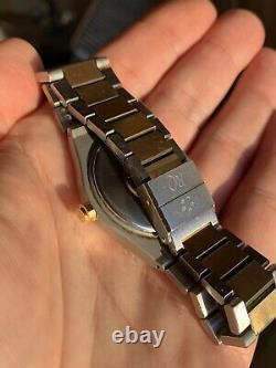 Rare Vintage Eterna Royal Kontiki Quartz Watch Tapestry Dial Gold/steel Swiss